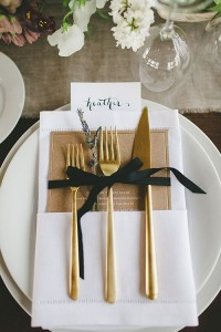 gold cutlery place settings