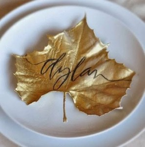 leaf place card place settings